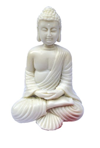 "4"" Buddha Statue/Idol/Decorative Figurine: Poly Marble with White Marble Finish - PREMIUM QUALITY Buddha Idol in Meditation Pose. Attractive & Serene Small Buddha Statue."