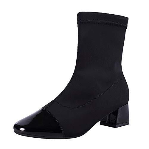 BOLUOYI Cowgirl Boots for Women,Women's Mid-Calf Boots,Women Wedges Slip-On Shoes Martain Boots Stretch Fabric Boots Round Toe Shoes,Black,39 CN