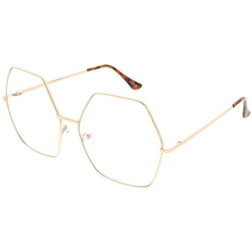 sunglassLA - Oversize Hexagonal Eye Glasses With Clear Lens 67mm (Gold / - Asos Glasses