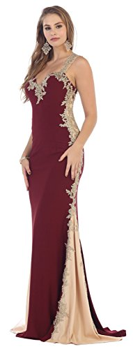 May Queen MQ1297 Red Carpet Evening Gown (16, (Red Carpet Designer Dresses)