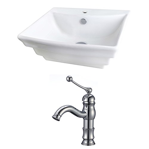 UPC 871211151047, 20-in. W x 18-in. D Rectangle Vessel Set In White Color With Single Hole CUPC Faucet