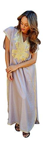 caftán para mujer, Hecho a mano, moderno, color Beige con dorado Marrakech, de algodón