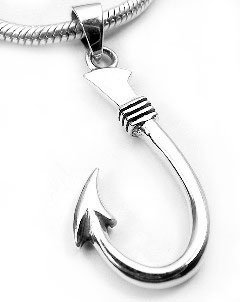 Pendant Hook (Neat Sterling Silver Fish Hook or Fishing Pendant Charm)
