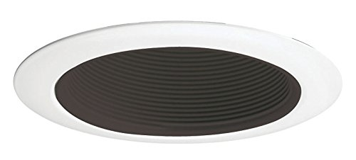 Juno Lighting 14B-WH 4-Inch Recessed Baffle Trim, Black Baffle with White (14 White Recessed Trim)