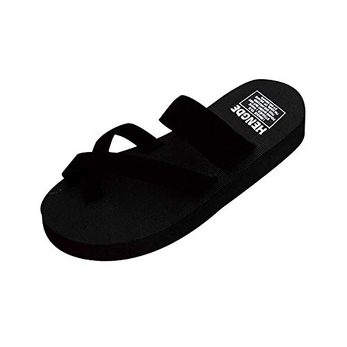 Corriee Womens Summer Clip Toe Slippers Flip Flops Beach Flat Sandals Black by Corriee (Image #6)