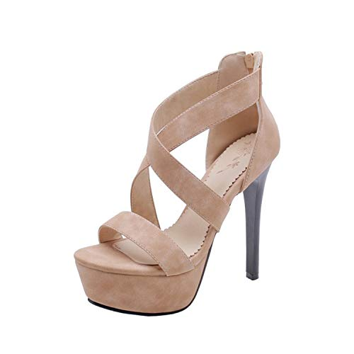 0657bff812261 Hbvza Super High Heel Gladiator Sandals Women Open Toe Back Zip Faux Suede  Cross Tied Rome Sandals Ladies Nightclub Shoes 2019 Apricot 9