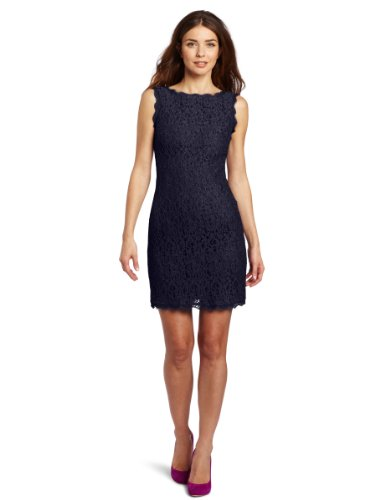 Adrianna Papell Women's Sleeveless Lace Dress, Navy, 12