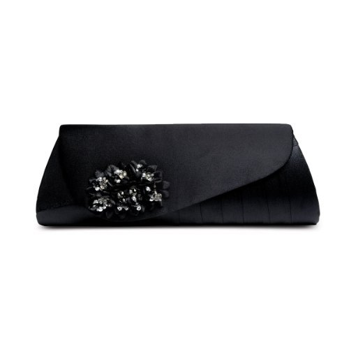 BOUTIQUE Schwarz Smart Floral Damen Perlen Damen Schuhe Peep Clutch Toe Tasche SAPPHIRE Heel Low 4qAd6n4w7