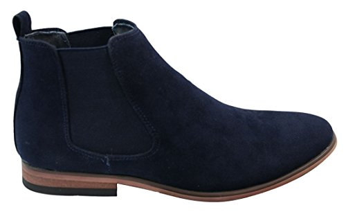 Mens Italian Suede Slip On Ankle Boots Smart Casual Desert Chelsea Dealer Navy ay15Q