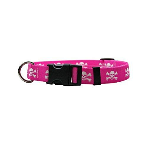 """Pink Skulls Dog Collar - Size Large 18"""" to 28"""" Long - Made In The USA"""