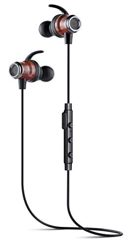 Symphonized DRV Genuine Wood Bluetooth Wireless Active Earbuds, Lightweight Noise-Isolating Headphones with Angle-Fit Ear Tips, Sport Earphones with Mic and Volume Control, Secure Fit Buds (Black) (Symphonized Nrg Earphones)