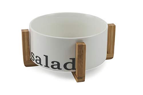 Villa d'Este Home Tivoli Salad Bowl with Stand Bamboo, Porcelain, White, 23 x H 10 cm (Villa Deste Bowl)