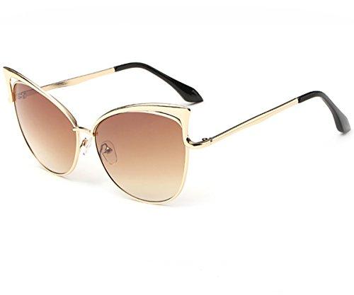Heartisan Vintage Flash Mirror Metal Frame Polarized Cat Eye Sunglasses For Women - Gift Prescription Card 2016 New