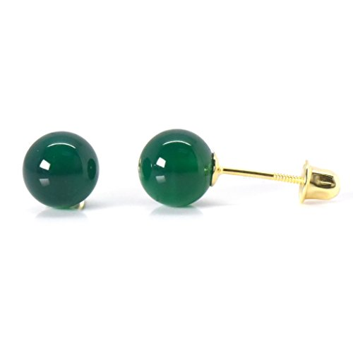 6mm Natural Dyed Agate 14k Yellow Gold Safety Screw Back Earrings Womens Fashion Trendy - (Agate Gold Earrings)