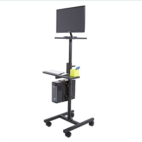 Height Adjustable Rolling Cart Workstation, Black by Versa Tables