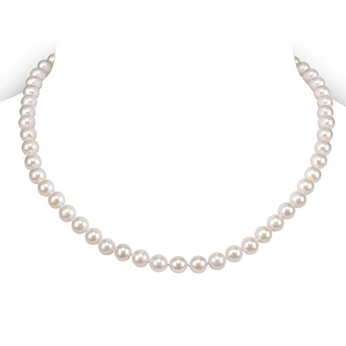 PAVOI Sterling Silver White Freshwater Cultured Pearl Necklace (16, 6mm) (Freshwater Mother Of Pearl Necklace)