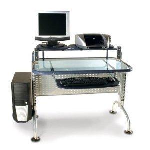 Amazon Com Leda Desk Dp088g29 Glass Computer Desk Kitchen Dining