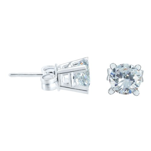 1 Carat Total Weight Diamond Stud Earrings Set in 10 Karat White Gold with G to I Color I1 to I2 - Set Earrings Tension Diamond