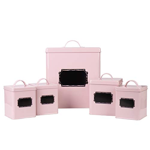 Home By Jackie X321 Set of 5 Metal Food Tin Canister/Bread Bin/Container/Box/Set (Pink) ()