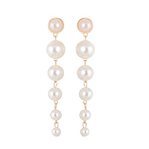 (Women 1Pair Trendy Pearl Drop Earrings Long Eardrop for Brides Bridesmaids Wedding Party)