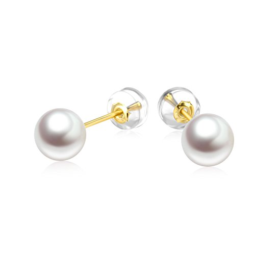 18K Gold Earrings, AAA Quality White Cultured Freshwater Pearl Stud Earrings for Girls (yellow-gold)