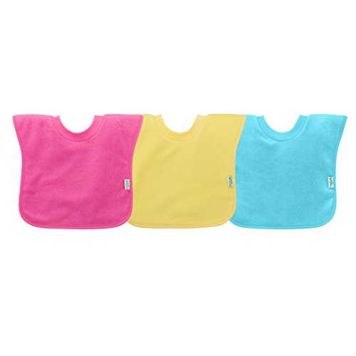 - green sprouts Pull-Over Stay-Dry Bibs (3 Pack) | Convenient Stay-Put Protection | Wide Coverage & Waterproof Protection, Stretchy Collar, Machine Washable