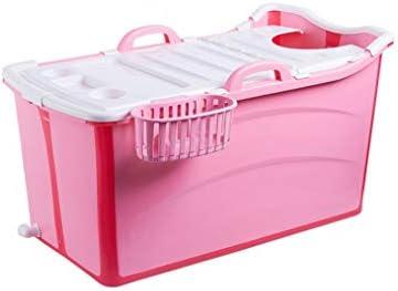 インフレータブルバスタブアダルト折りたたみ浴槽風呂バレル大人、厚いプラスチックバケツの浴槽 (Color : Pink)