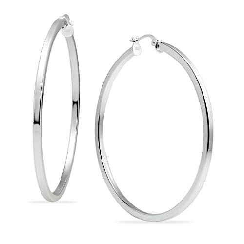 (Polished Sterling Silver Square Tube Round Hoop Earrings 2mm for Women & Girls 55mm Diameter)