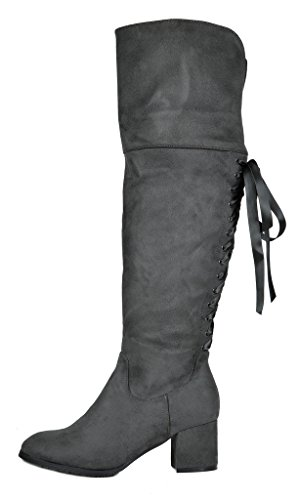 DREAM PAIRS Womens Over The Knee Thigh High Low Block Heel Boots Amus-grey xbUP5