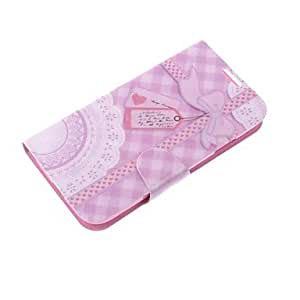 xiao Light Purple Bowknot Smooth PU Leather with Pink PC Case for SAM S4 I9500