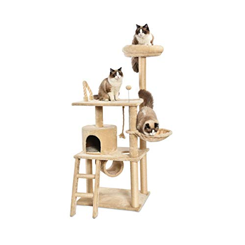AmazonBasics Multi-Level Cat Tree Condo With Tunnel And Platform - 24 x 60 x 19 Inches, Beige