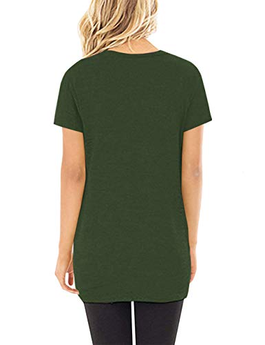Women's Basic Short Sleeve Tops with Knot Front Shirts Blouses,Green,M