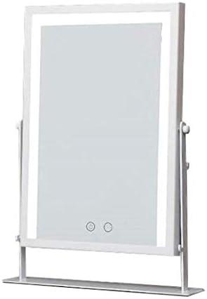 メイクバニティミラーの上に立つ化粧鏡付LEDライト360度スイベル回転装飾鏡 化粧鏡