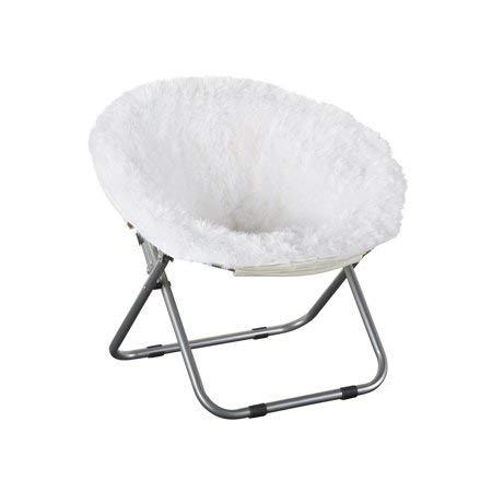 Faux-Fur Plush Kids Blair Saucer Folding Chair in White