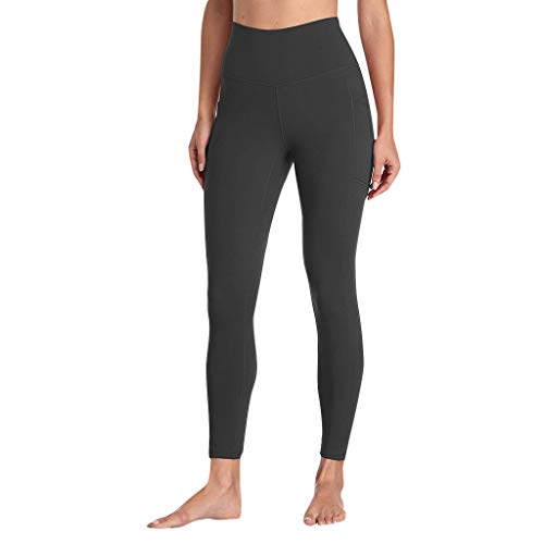 Londony ♪ High Waist Out Pocket Yoga Pants Tummy Control Workout Running 4 Way Stretch Yoga Leggings Shirts Casual Top