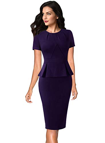 VFSHOW Womens Purple Pleated Crew Neck Peplum Wear to Work Business Office Church Sheath Dress 532 PUP XS