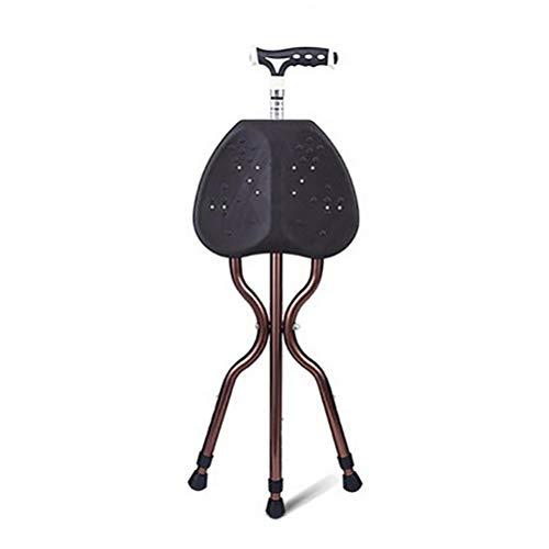 NBE Falten leicht einstellbare Höhe Zuckerrohr Sitz Walking Stick Portable Angeln Rest Hocker mit LED-Licht für Ältere