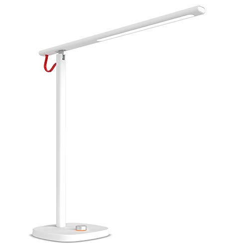 LED Desk Lamp, Yoobao Dimmable Eye-Care Office Table Lamp, Daylight Sunlight Reading Studying Work Task Light Lighting, 6W Modern Table Lamp for Office Bedside Nightstand Bedroom Living Room - White