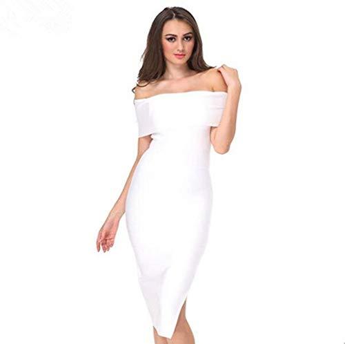 53f6dbe9ad5d Aderente All abito Parola Bianca Party Donna Di Da Con Colletto Abiti Sera  Marca Cerimonia Dress Mode ...