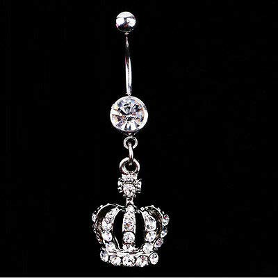 HS store Belly Button Dangle Rings Crystal Jewelry Barbell Navel Ball Bar Body Piercing (Crown) ()