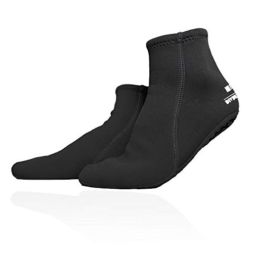 Dwave WACOOL 3mm Neoprene Beach Aqua Yoga Socks for Sand Playing, Scuba Diving, Snorkeling, Swimming & All Water Sports (Black L) ()