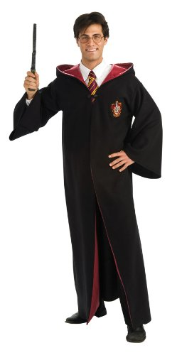 Harry Potter Adult Deluxe Robe, Black, Standard Costume (Hermione Costume Adult)