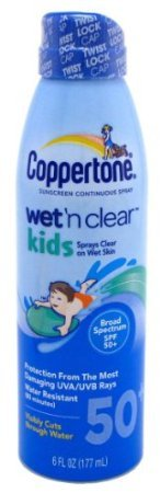 Coppertone Continuous Spf#45 Spray Kids Wet N Clear 6oz (3 Pack) by Benchalak