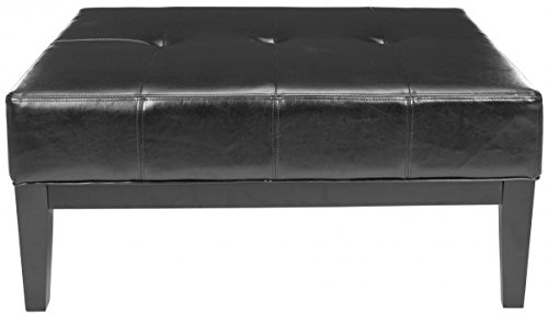 Safavieh Hudson Collection Bleecker Black Leather Cocktail Ottoman, Large