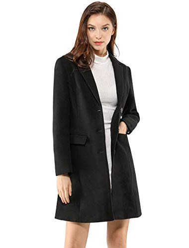 Allegra K Women's Notched Lapel Single Breasted Outwear Winter Coat XS Black ()