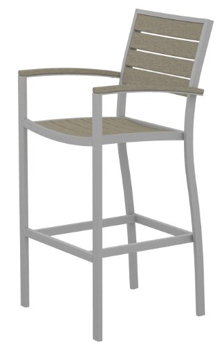 Arm Euro Bar Stool - POLYWOOD A202FASSA Euro Bar Arm Chair, Textured Silver/Sand