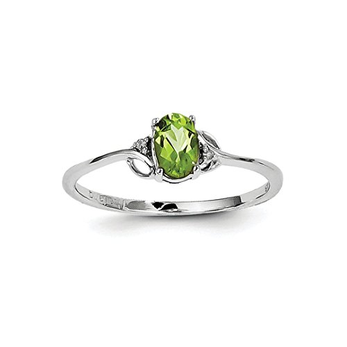 ICE CARATS 925 Sterling Silver Diamond Green Peridot Oval Band Ring Size 9.00 Gemstone Fine Jewelry Ideal Gifts For Women Gift Set From (Cushion Very Fine Diamond Solitaire)