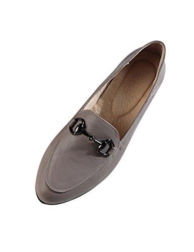 Youlee Mujeres Primavera Verano Nuevo Ponerse Cuero Zapatos Gris