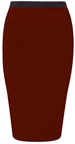 Nouveau Femmes Plus Size moulante Jersey Crayon Midi Jupes, Wine,52-54