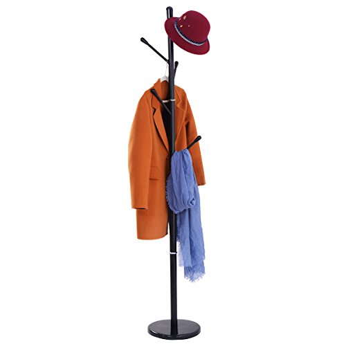 Edxtech Metal Coat Rack Hat Tree Stand Clothes Holder Umbrella Bag Hanger Hall Black